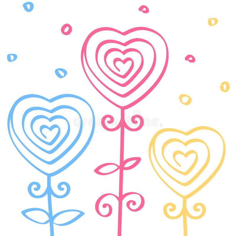 Het hart vormde bloemen, hand getrokken krabbelornament, lijn naadloos patroon, vectorillustratie vector illustratie