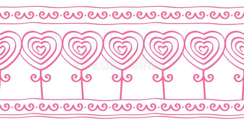 Het hart vormde bloemen, krabbel naadloos patroon voor grens, kant, vectorillustratie vector illustratie