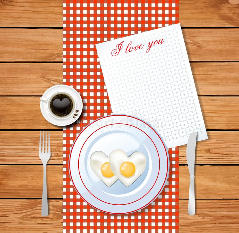 Het hart vormde gebraden eieren op witte plaat met I-liefde u tekst royalty-vrije illustratie