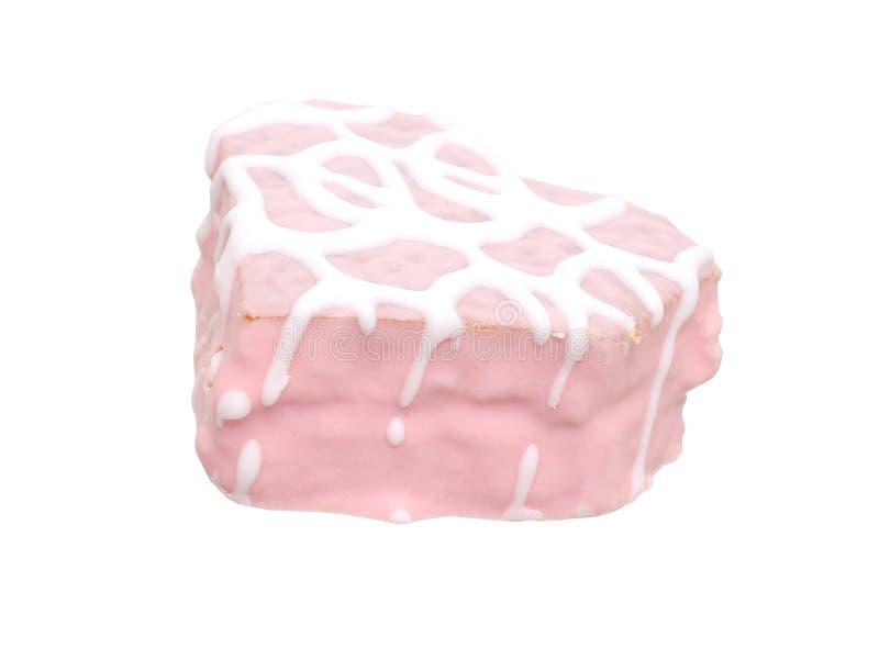 Het hart vormde Roze Geïsoleerdeo Cake (Beeld 8.2mp) royalty-vrije stock fotografie