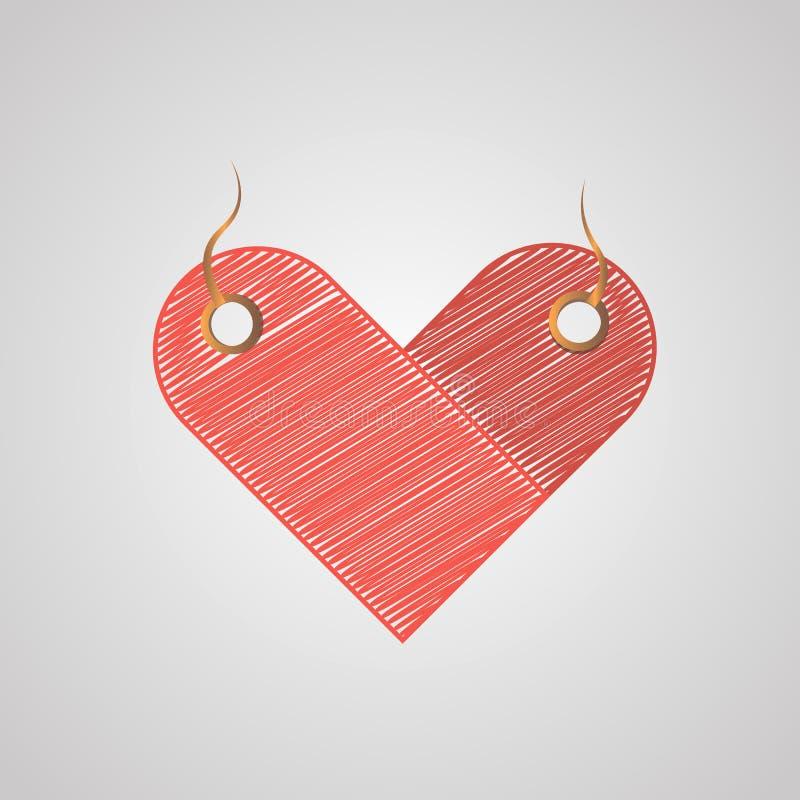 Het hart-vormige etiket stileerde onzorgvuldige aanrakingen voor verkoop, prijskaartjes, voor zaken stock foto's
