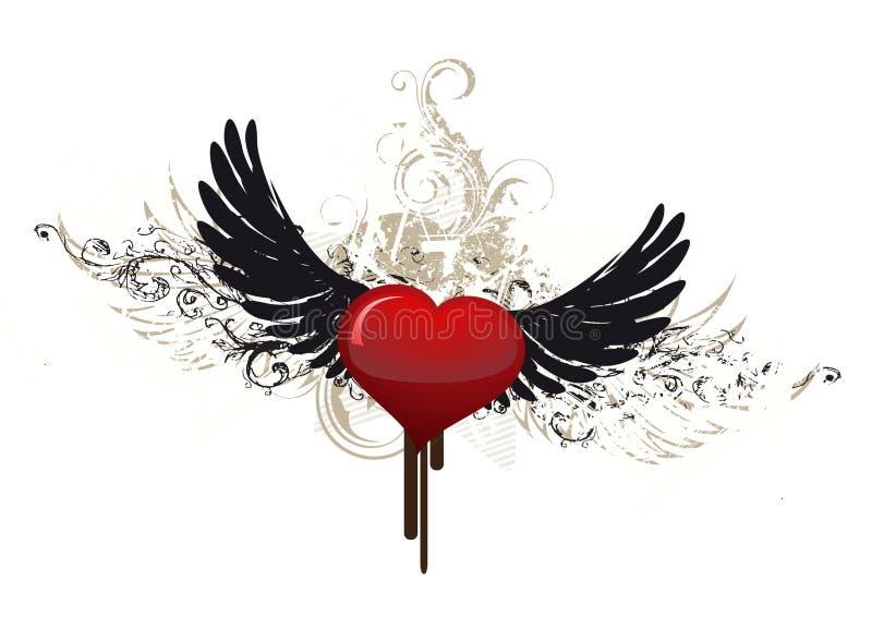Het hart witj vleugels van Grunge stock illustratie