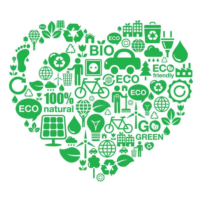 Het hartachtergrond van Eco - groene ecologie stock illustratie