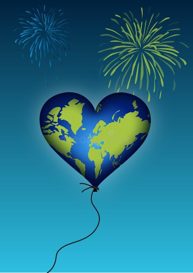 Het hartballon van de aarde stock afbeelding