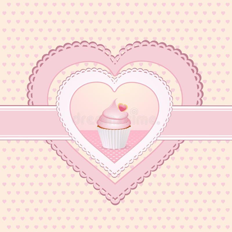 Het hartetiket van Cupcake vector illustratie