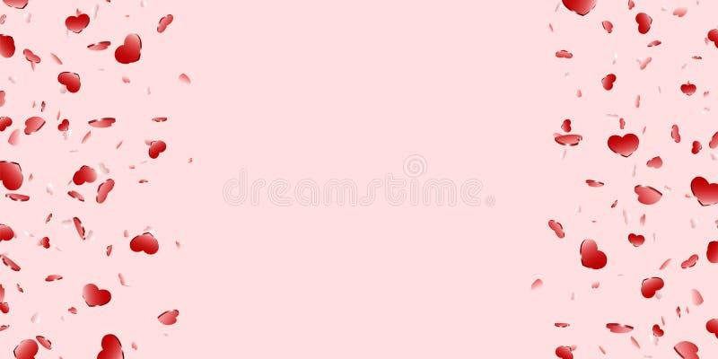 Het hartkader isoleerde roze achtergrond Rode de confettiengrens van de hartendaling De abstracte van de hart-vorm kaart ontwerpl stock illustratie