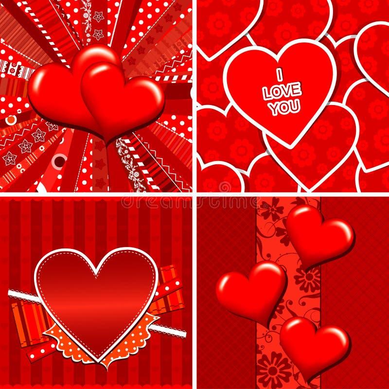 Het hartpatroon en achtergrond van de valentijnskaart stock illustratie