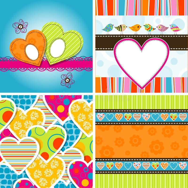 Het hartpatroon en achtergrond van de valentijnskaart royalty-vrije illustratie