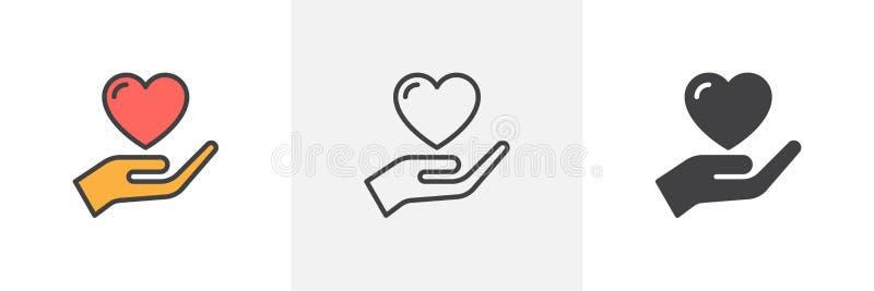 Het hartpictogram van de handholding royalty-vrije illustratie