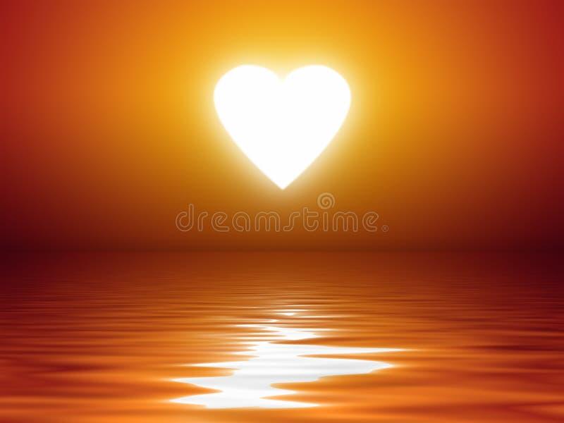 Het hartvorm van de zonsondergang