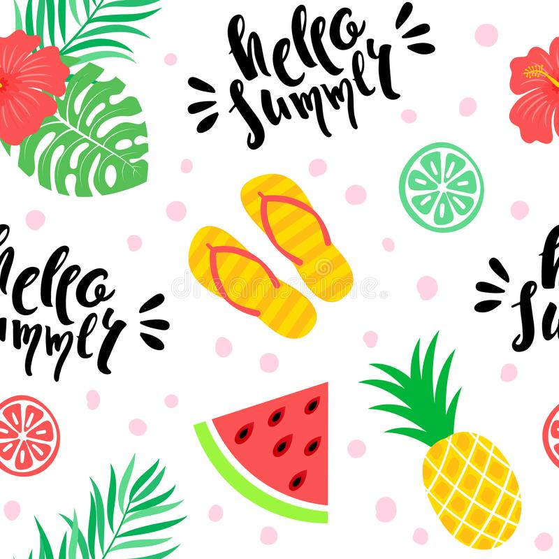 Het Hawaiiaanse Naadloze Patroon van Aloha vector illustratie