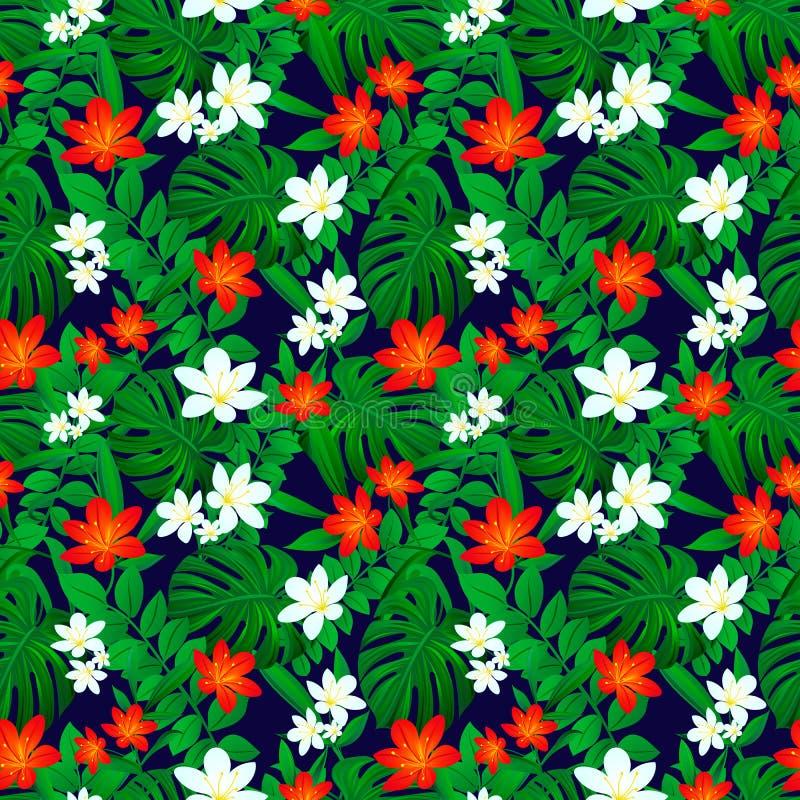Het Hawaiiaanse Naadloze Patroon van Aloha Exotische bladeren herhaalde textuur Vector kaart De zomer Tropische Achtergrond gekle royalty-vrije illustratie