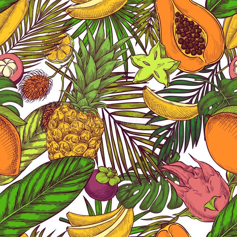 Het Hawaiiaanse Naadloze Patroon van Aloha Exotische vruchten, ananas, banaan, palmbladen op witte achtergrond Stethoscoop over w vector illustratie