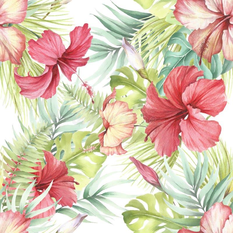 Het Hawaiiaanse Naadloze Patroon van Aloha Palmbladen en hibiscus De hand trekt waterverfillustratie stock illustratie