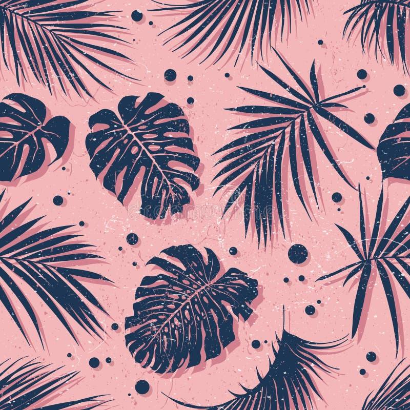 Het Hawaiiaanse Naadloze Patroon van Aloha In tropisch bladerenontwerp royalty-vrije illustratie