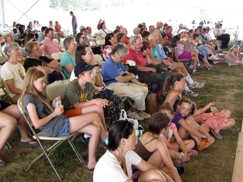 Het Hawaiiaanse Publiek van de Groep van de Dans stock afbeeldingen