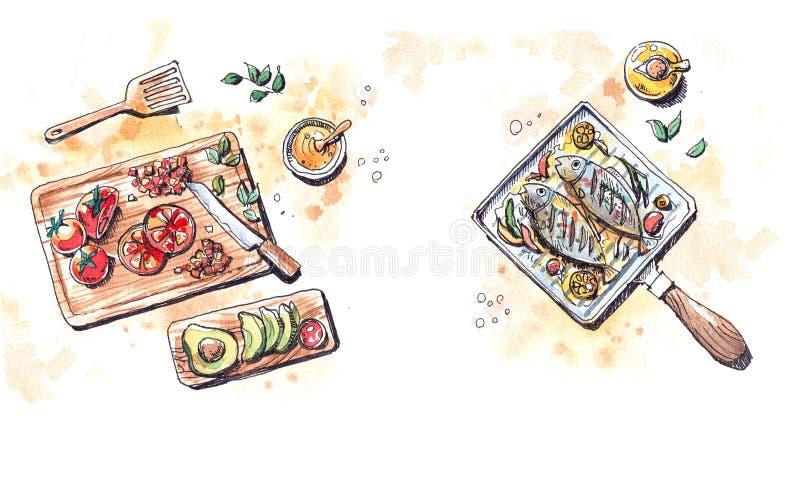 Het Healtheyvoedsel treft, grillvissen in olijfolie en verse tomatoe voorbereidingen vector illustratie