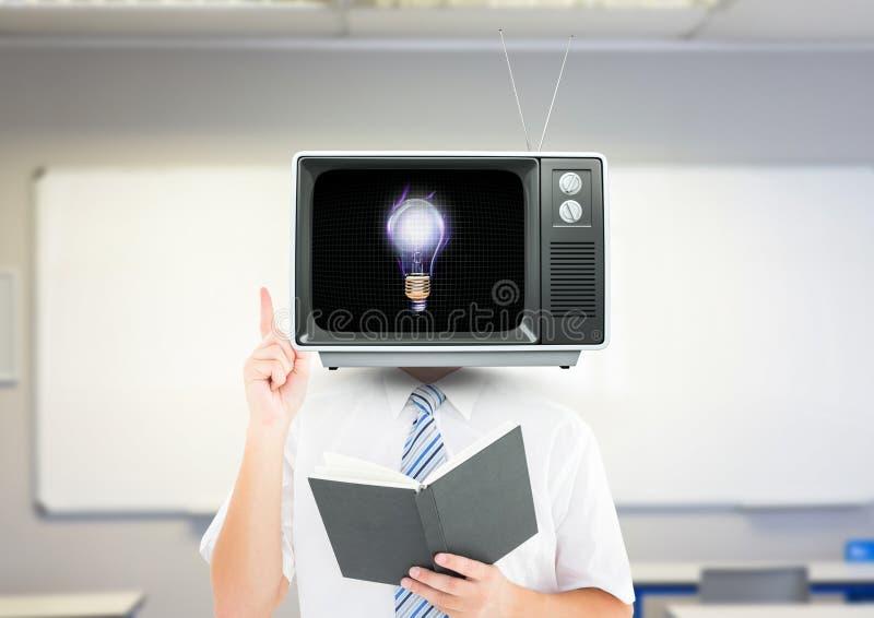 het hebben van een idee Het Hoofd van TV stock afbeeldingen