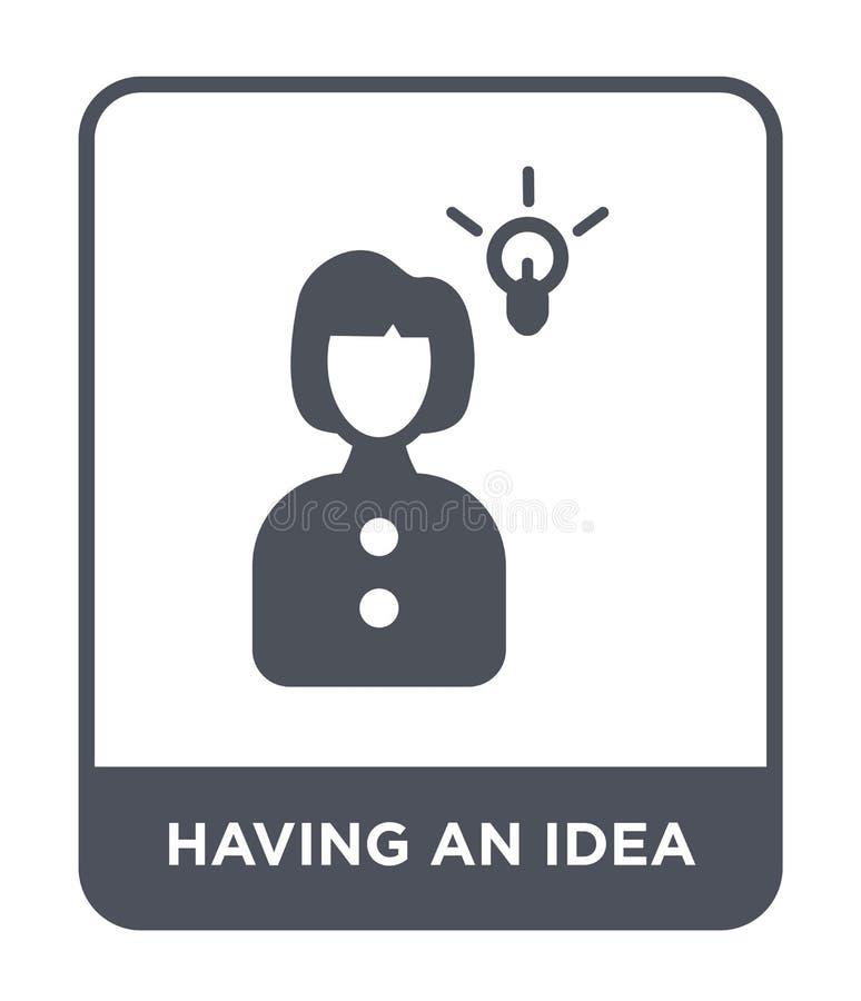 het hebben van een ideepictogram in in ontwerpstijl Hebbend een ideepictogram op witte achtergrond wordt geïsoleerd die hebbend e vector illustratie