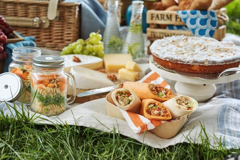 Het heerlijke picknickvoedsel diende in openlucht op een deken stock afbeeldingen