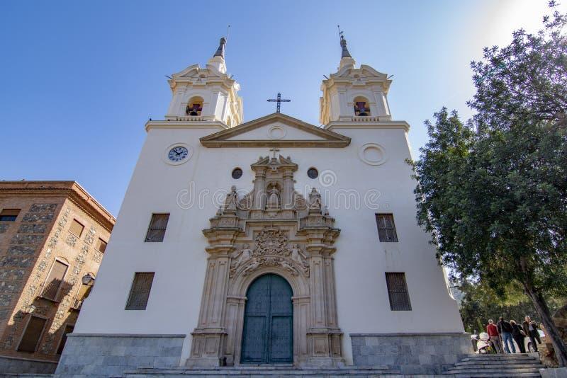 Het heiligdom van Fuensanta tegen een blauwe hemel in Murcia, Spanje stock foto's