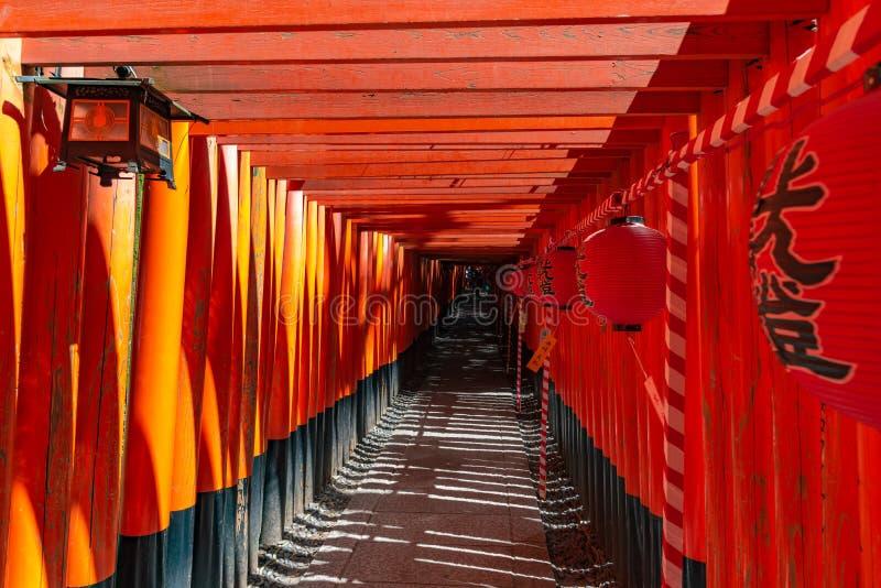 Het Heiligdom van inari-Taisha van Fushimi Poorten van Torii van duizenden de talloze vermiljoenen op een heuvel royalty-vrije stock afbeeldingen