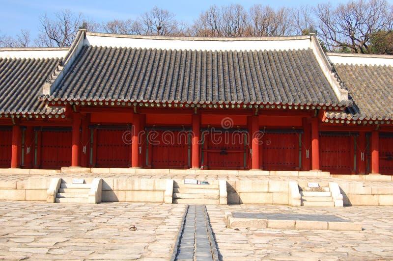 Het Heiligdom van Jongmyo in Seoel stock fotografie