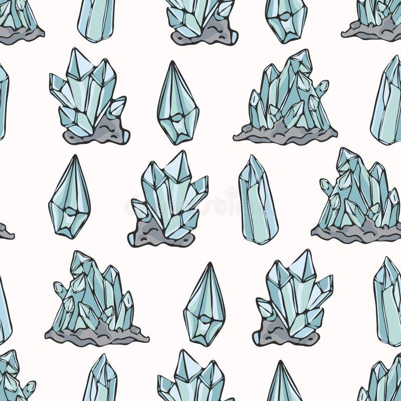 Het heilige Esoterische Vectorpatroon van Kwartscrystal magic hand drawn seamless stock illustratie