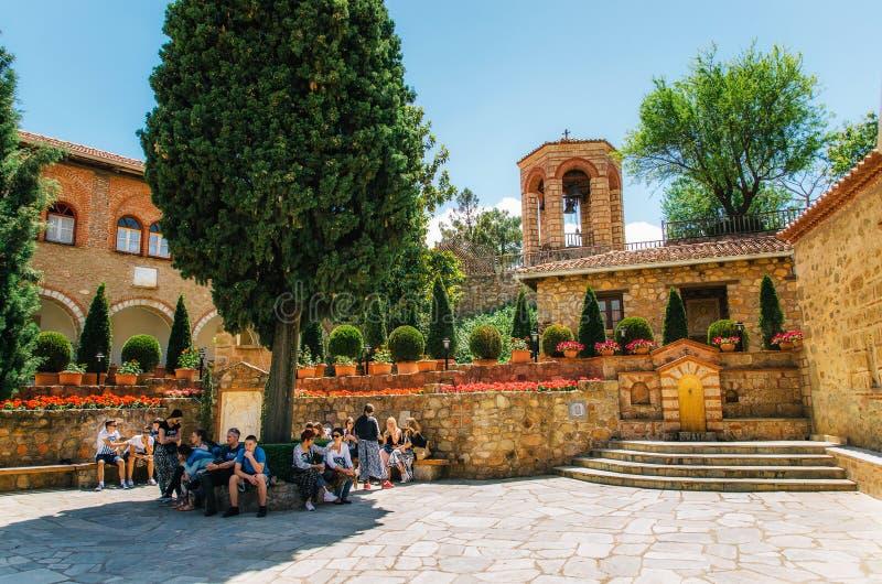 Het Heilige Klooster van Grote Meteoron bij het complex van Meteora-kloosters in Griekenland stock fotografie