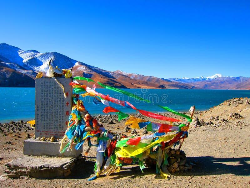 Het heilige Meer van Tibet - Yamdrok Y stock foto