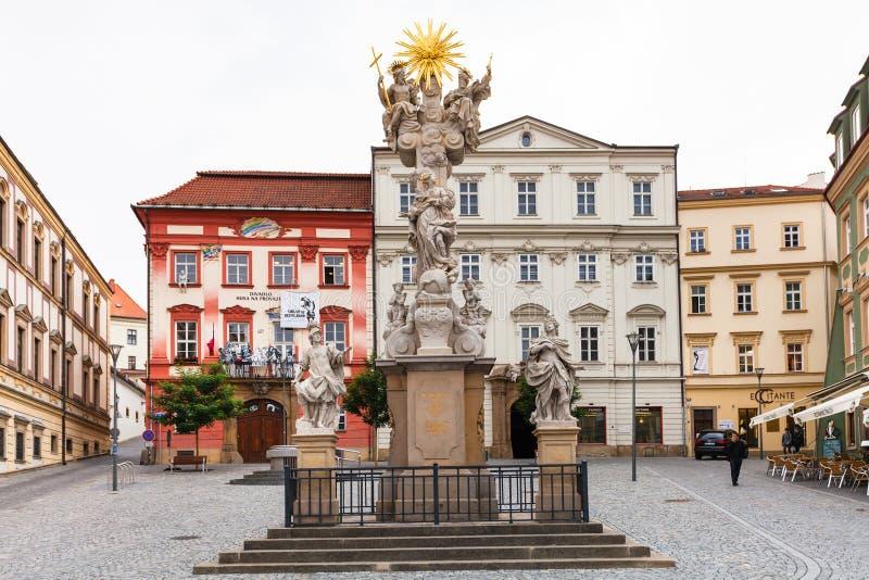 Het heilige Vierkant van de de Koolmarkt van de Drievuldigheidskolom in Brno royalty-vrije stock foto