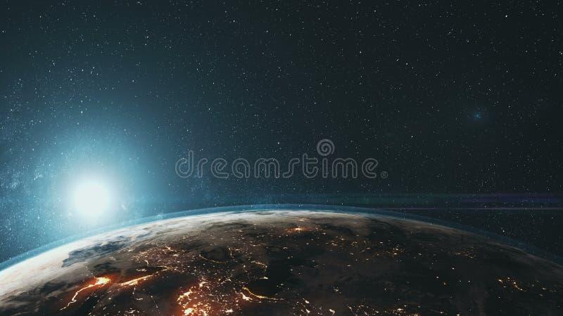 Het heldendicht roteert de sterachtergrond van de aarde dichte omhooggaande oppervlakte vector illustratie