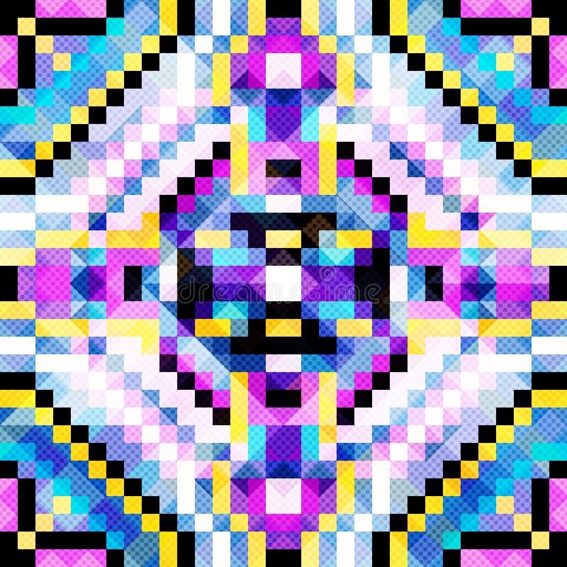 Het heldere Abstracte naadloze geometrische patroon van pixel mooie kleine veelhoeken royalty-vrije illustratie