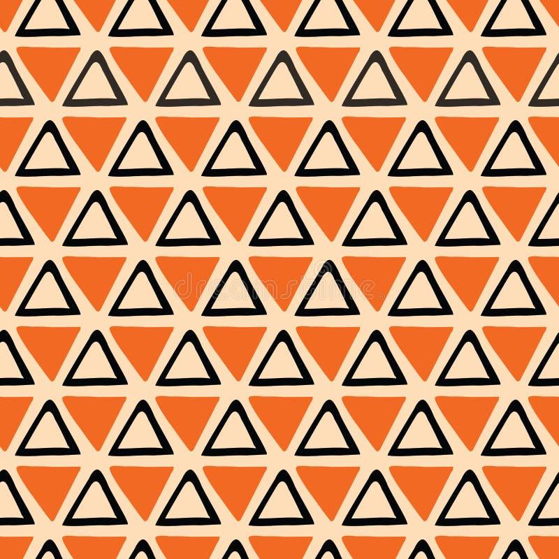 Het heldere abstracte Naadloze oranje en zwarte patroon van Halloween maakte van hand getrokken driehoeken royalty-vrije illustratie