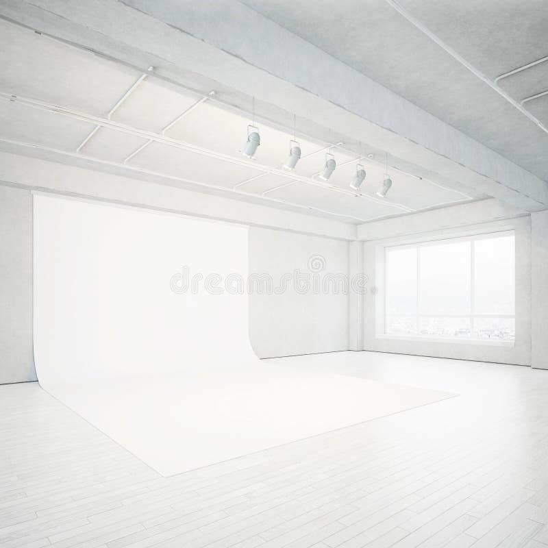 Het heldere binnenland van de fotostudio stock afbeeldingen