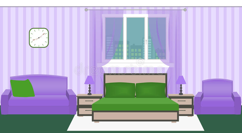 Het heldere binnenland van de kleurenslaapkamer met meubilair en cityscape buiten het venster vector illustratie