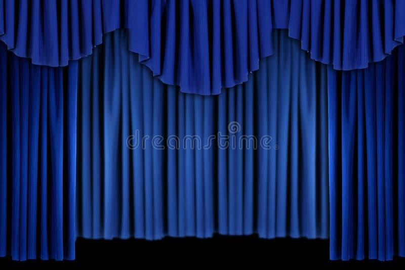 Het heldere Blauwe Gordijn drapeert Achtergrond stock illustratie