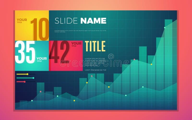 Het heldere contrast kleurt infographic reeks met vooruitgangsgrafiek, vakjes, tekst en aantallen vector illustratie