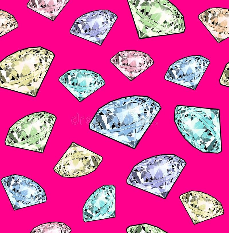 Het heldere fonkelen briljant op een roze achtergrond Naadloos patroon Realistische grafische illustratie stock illustratie