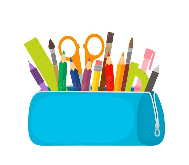 Het heldere geval van het schoolpotlood met het vullen van schoolkantoorbehoeften zoals pennen, potloden, schaar, heerser, leeswi stock illustratie