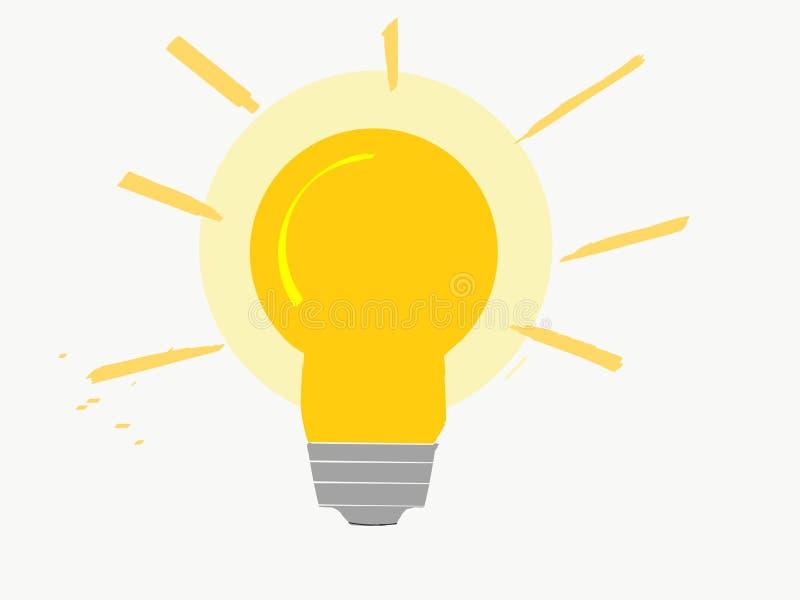 Het heldere glanzen lightbulb met oranje en gele kleuren stock illustratie