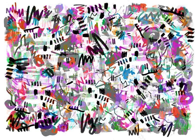 Het heldere kleur abstracte schilderen in de stijl van Memphis vector illustratie