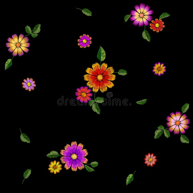 Het heldere kleurrijke naadloze patroon van het bloemborduurwerk Malplaatje van de manier het decoratie gestikte textuur Etnische stock illustratie