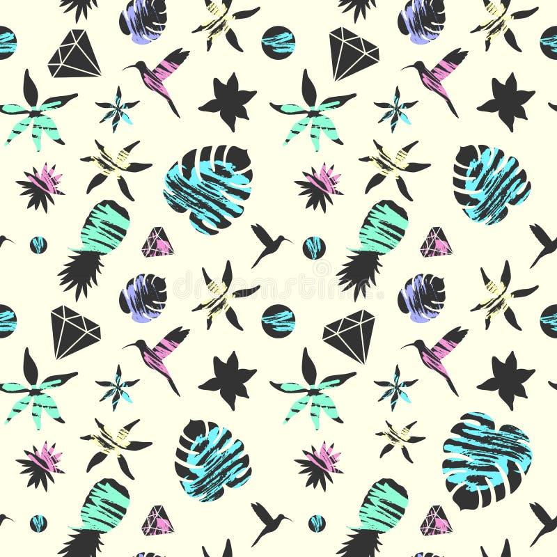 Het heldere naadloze patroon van de de zomermanier met tropische flora en vogels in eenvoudige vlakke stijl Vector illustratie royalty-vrije illustratie
