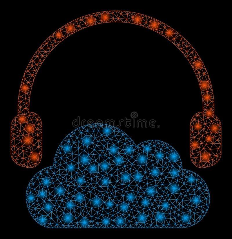 Het heldere Netwerk tweede luistert Wolk met Lichte Vlekken vector illustratie