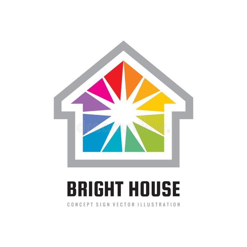 Het heldere ontwerp van het huisembleem Het positieve teken van het onroerende goederenconcept Het schilderen bouwt pictogram Com royalty-vrije illustratie