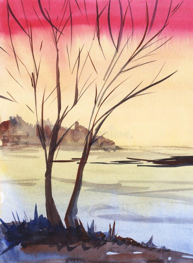 Het heldere silhouet van de het landschapsboom van de zonsondergangwinter op roze-oranje gradiëntachtergrond Donkere bos Hand-dra vector illustratie