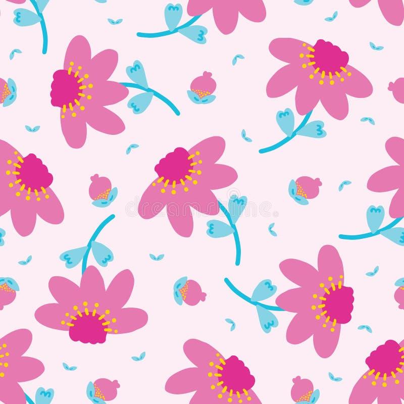Het heldere van de de bloembloei van het de zomermadeliefje naadloze patroon Gestileerde retro bloemen drukt overal Mooie jaren ' royalty-vrije illustratie