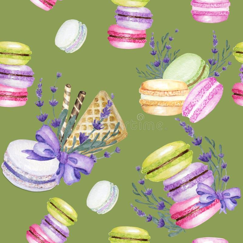 Het heldere van de de cakewaterverf van kleurenmacarons naadloze patroon op groene achtergrond met lavendel bloeit Het kleurrijke vector illustratie