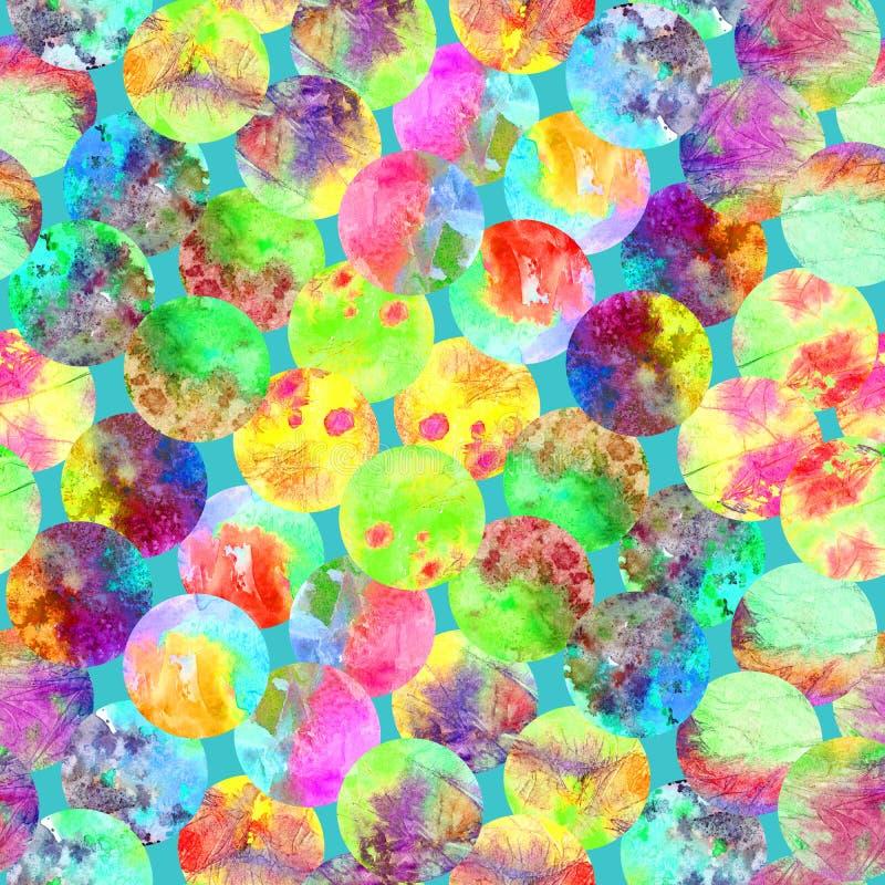 Het heldere van de de plonsentextuur van stip abstracte grunge kleurrijke ontwerp van het de waterverf naadloze patroon in geel,  royalty-vrije stock afbeeldingen